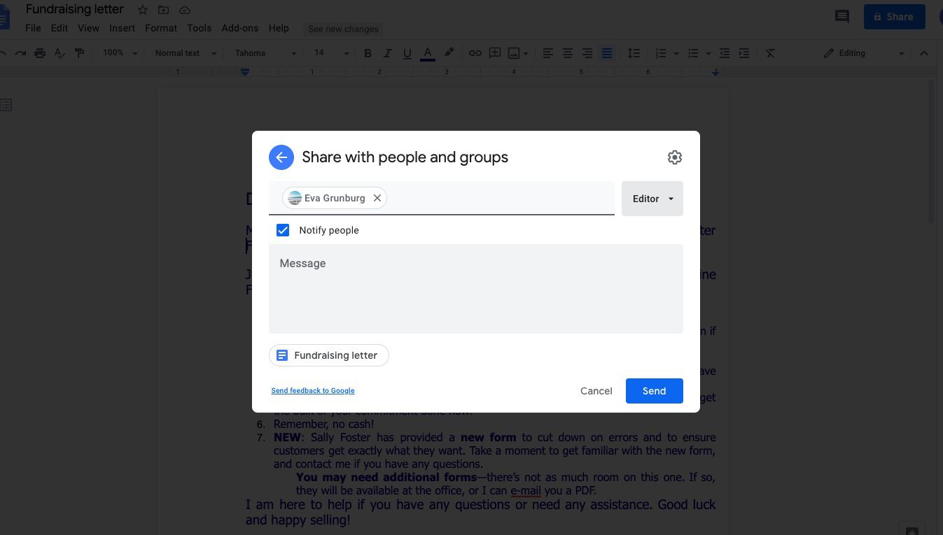 Add person you're sharing the Google Doc with