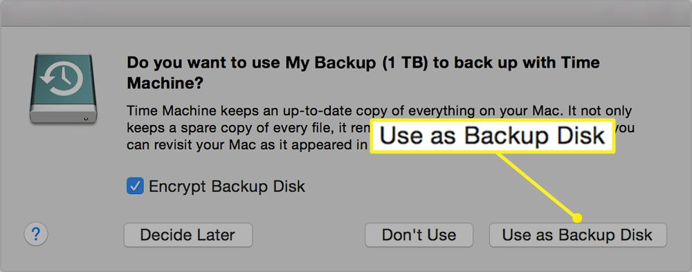 Use as Backup Disk selected on a Mac