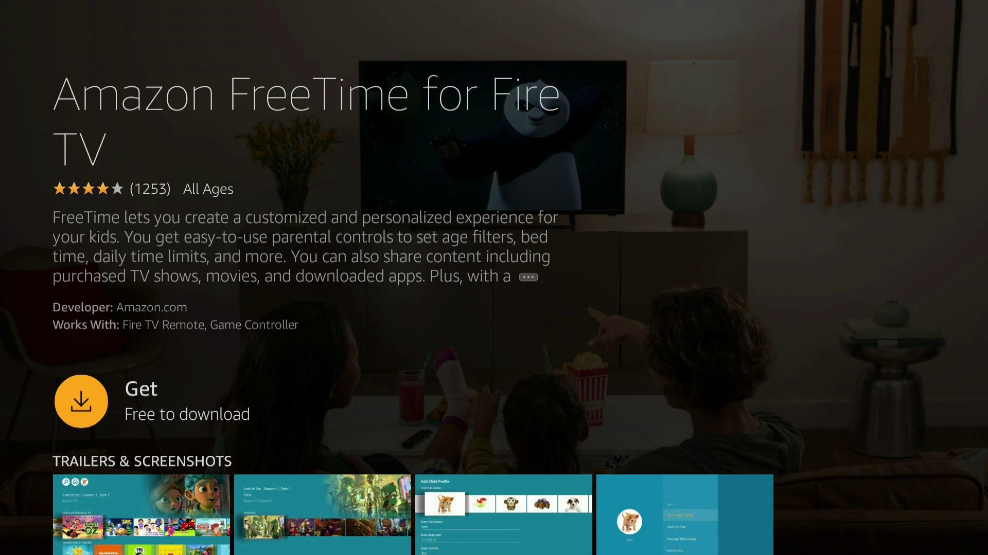 A screenshot of downloading FreeTime to a Firestick.
