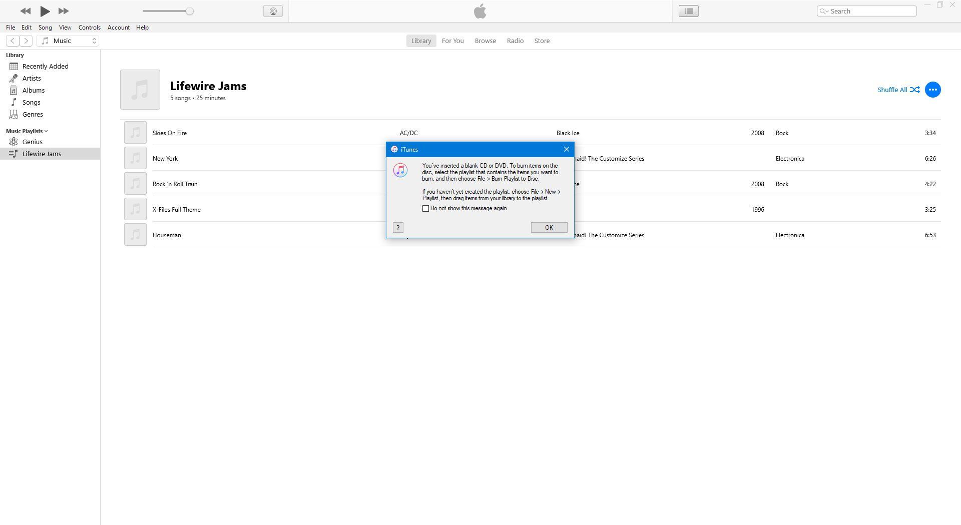 Notification of blank CD insertion.