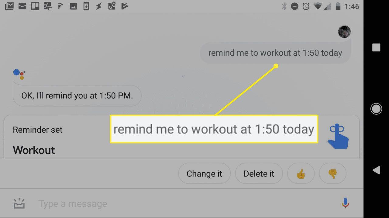 Screenshot of time based reminder in Google Assistant