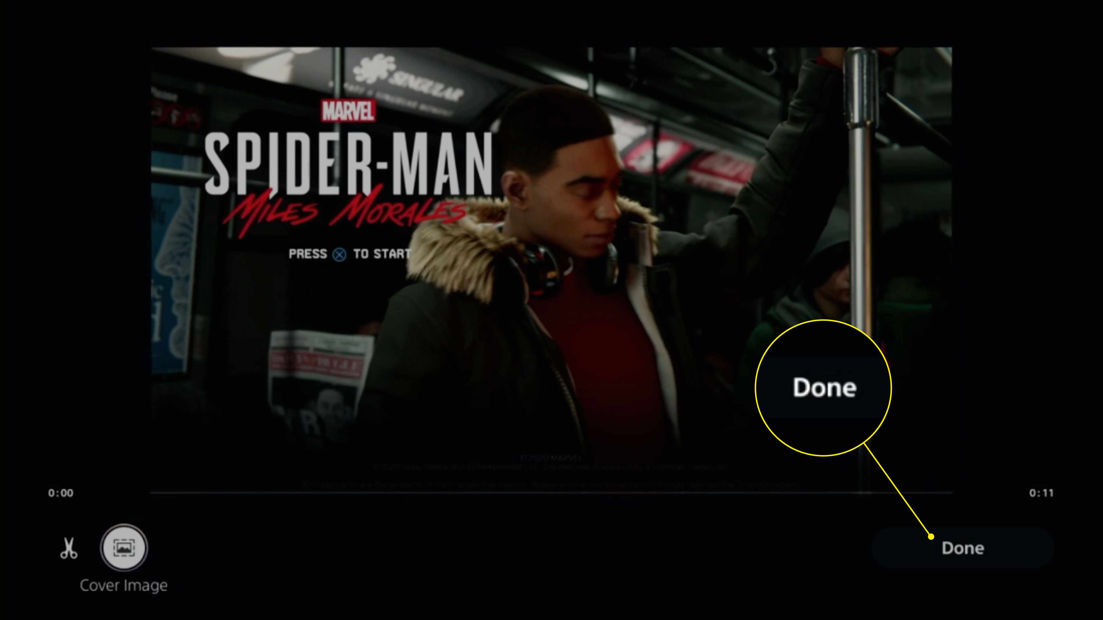 The Done button in the clip editing screen