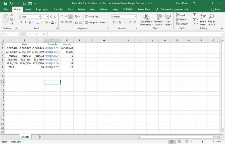 Excel spreadsheet showing MIN values.