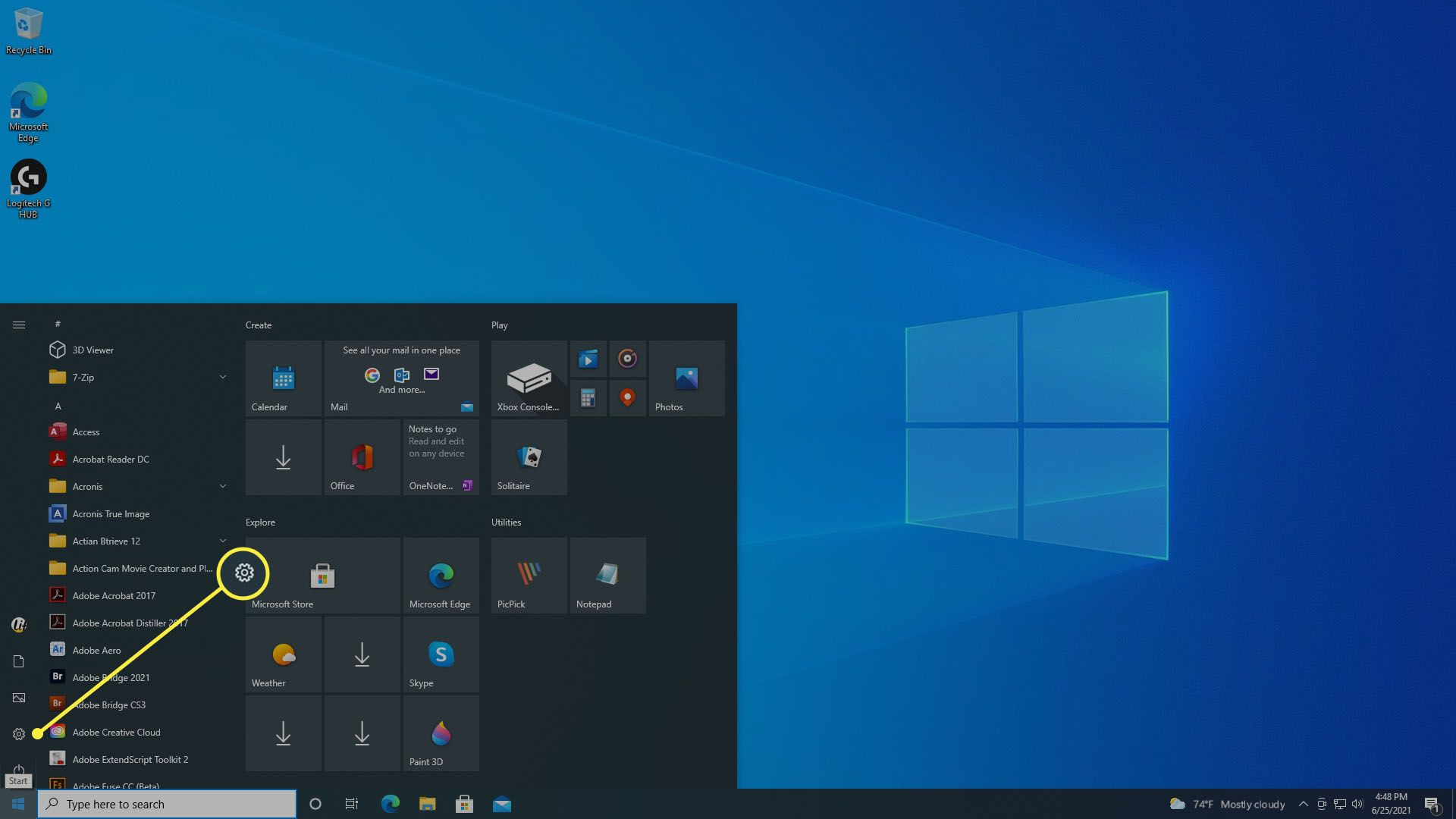 The Settings option on Windows 10 Start Menu.