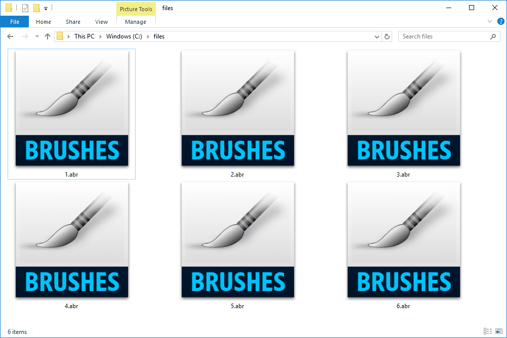 ABR files used by Photoshop in Windows 10