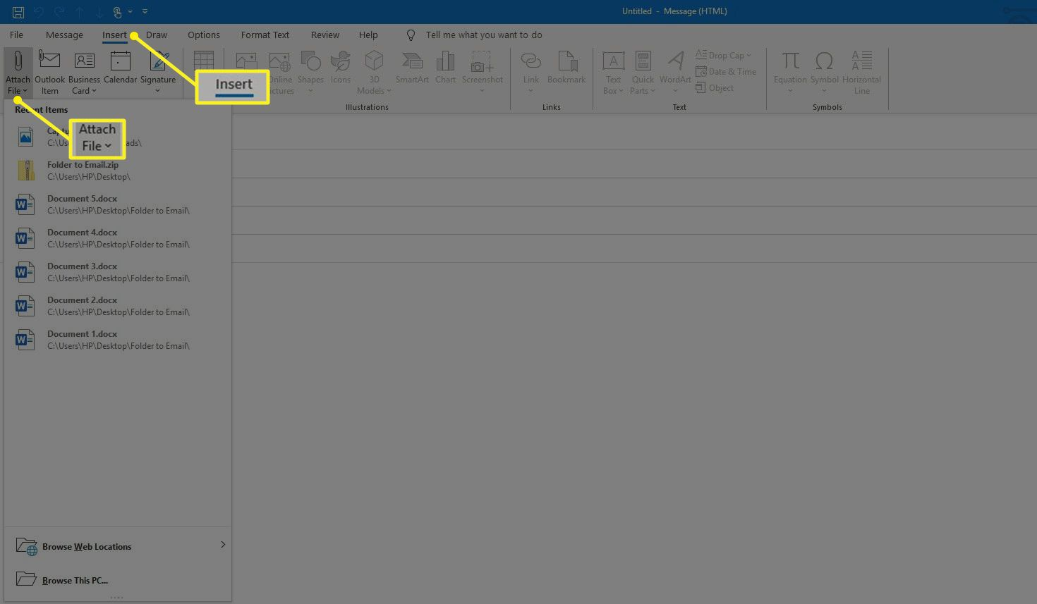 Attach File on Insert tab in Outlook