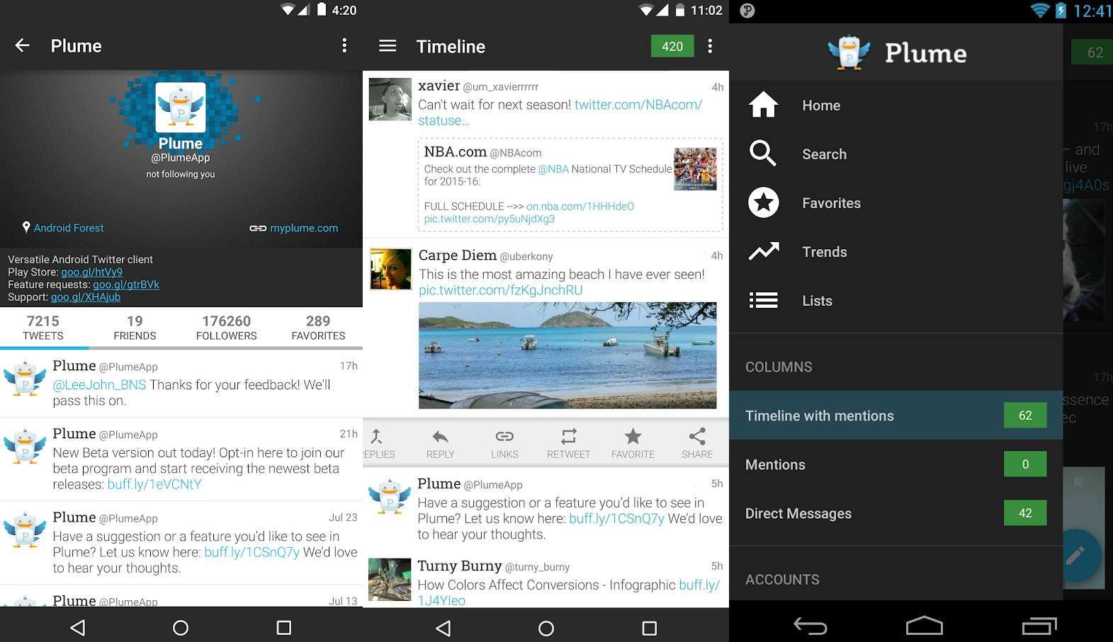 A Twitter profile and timeline using the Plume app