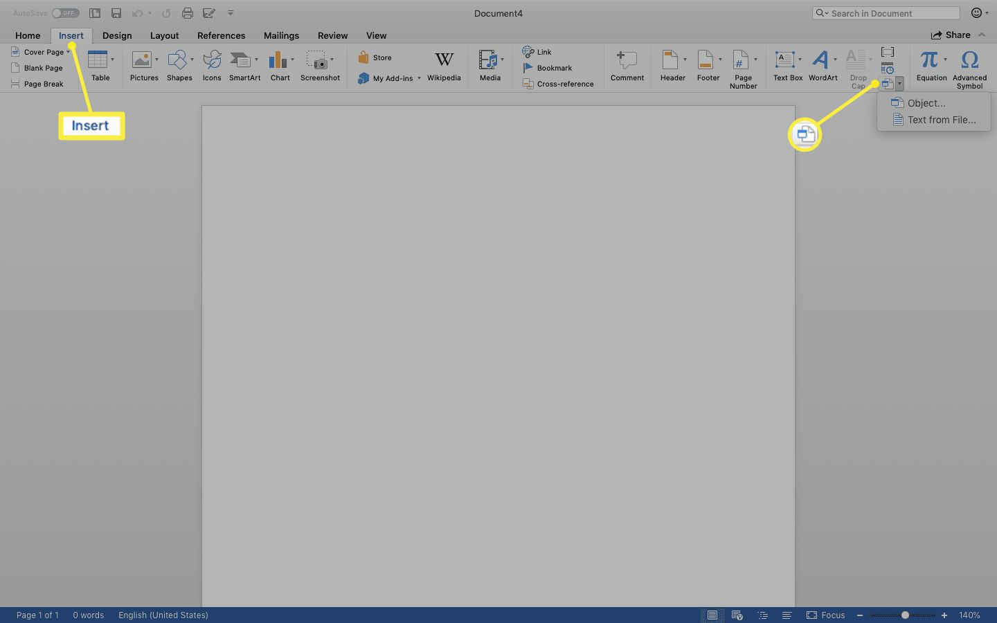 Insert tab showing Object icon
