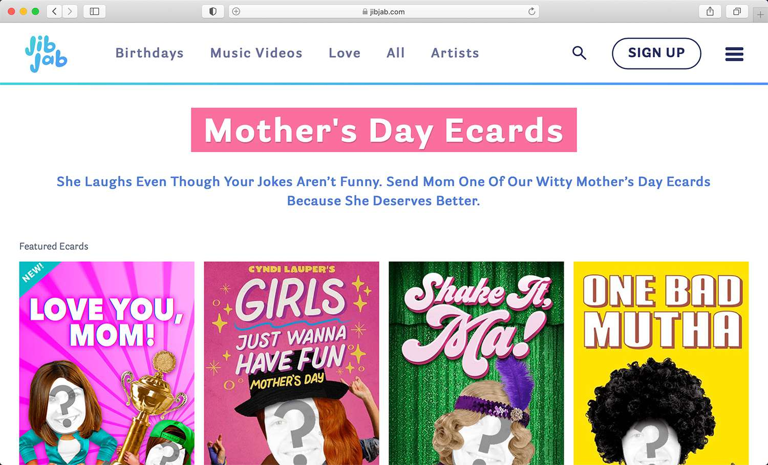 JibJab video e-card website for Mother's Day and more