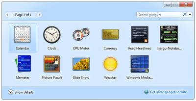 Screenshot of the Windows 7 gadgets