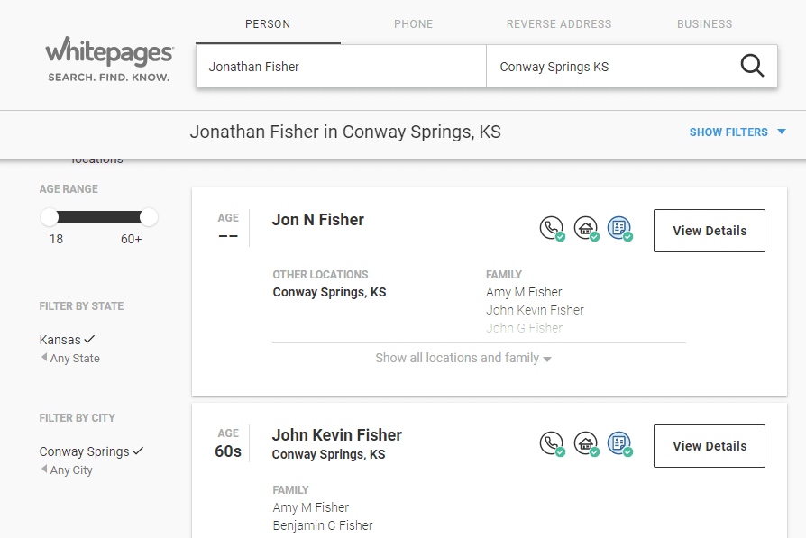 Whitepages results list for Jonathan Fisher