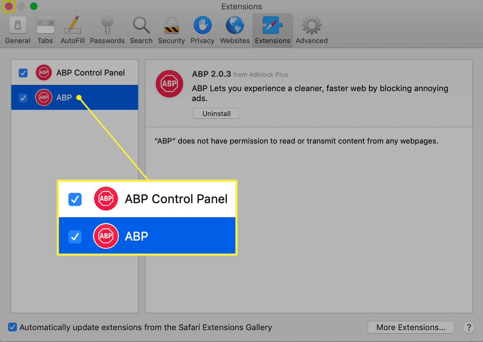 Mac Extensions preferences with ABP extensions checked