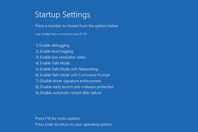 Windows 10 Startup Settings screen with Safe Mode options