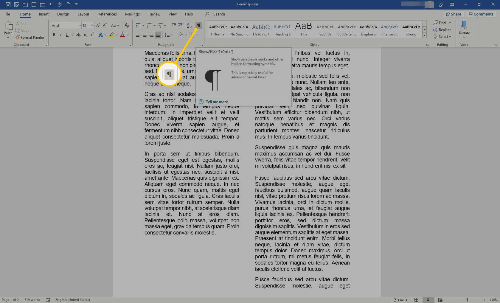Show Formatting button in Word