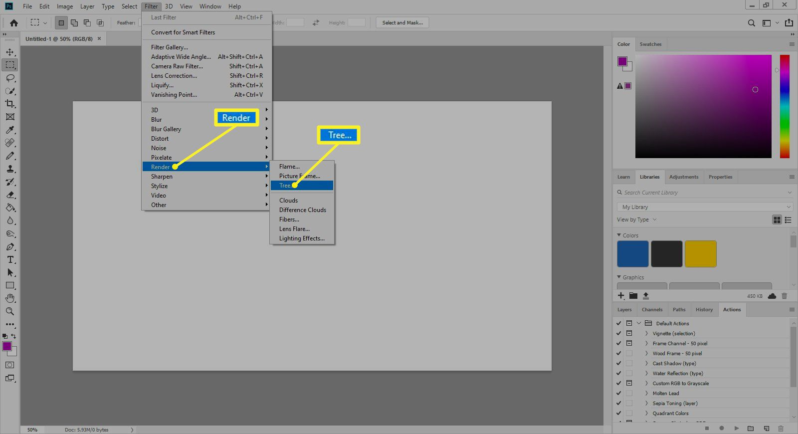 Photoshop Filter menu with Render and Tree selected