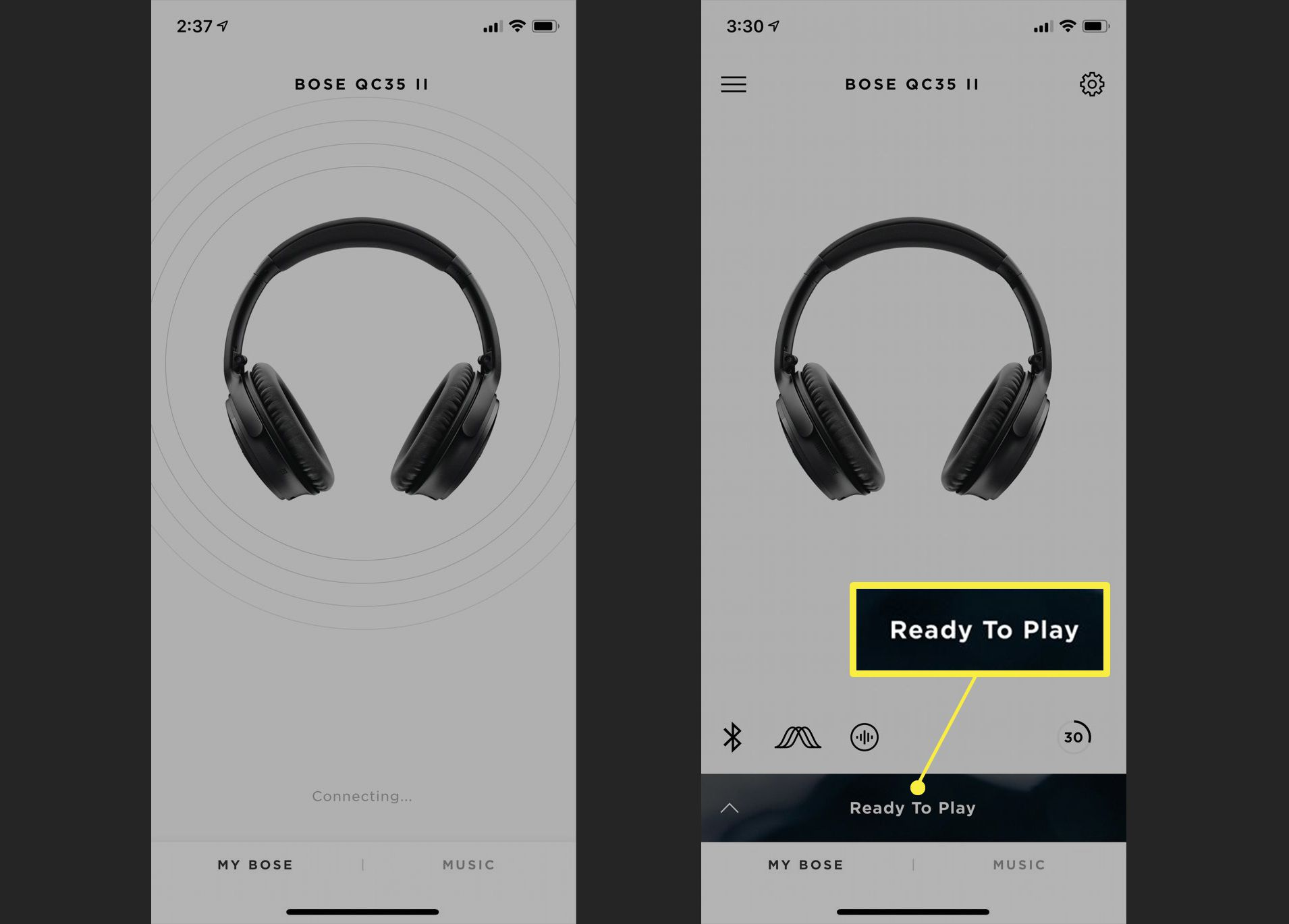Bose Connect app on iPhone