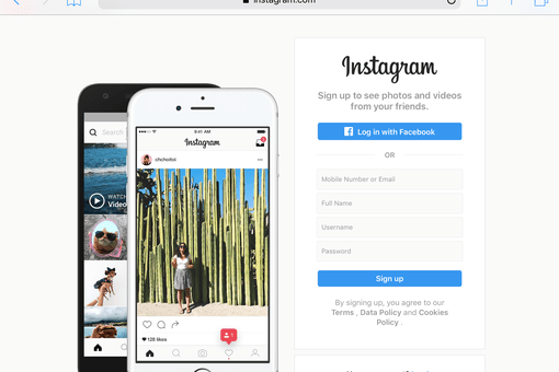 screenshot of instagram.com home page on Safari for iPad