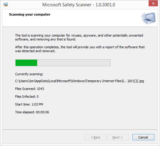 Screenshot of Microsoft Safety Scanner