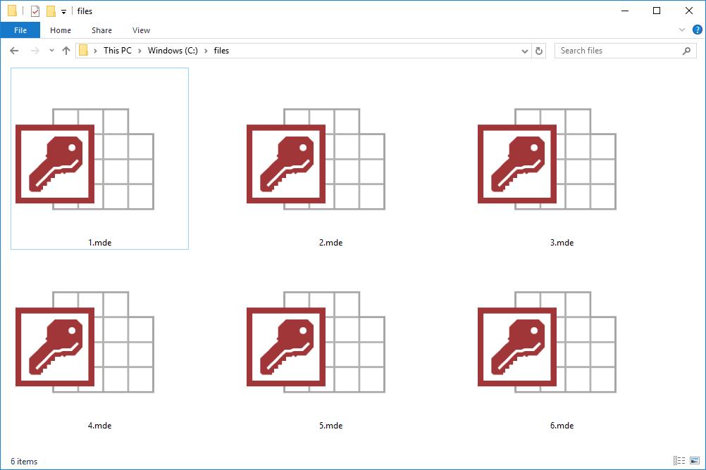 MDE files in Windows 10