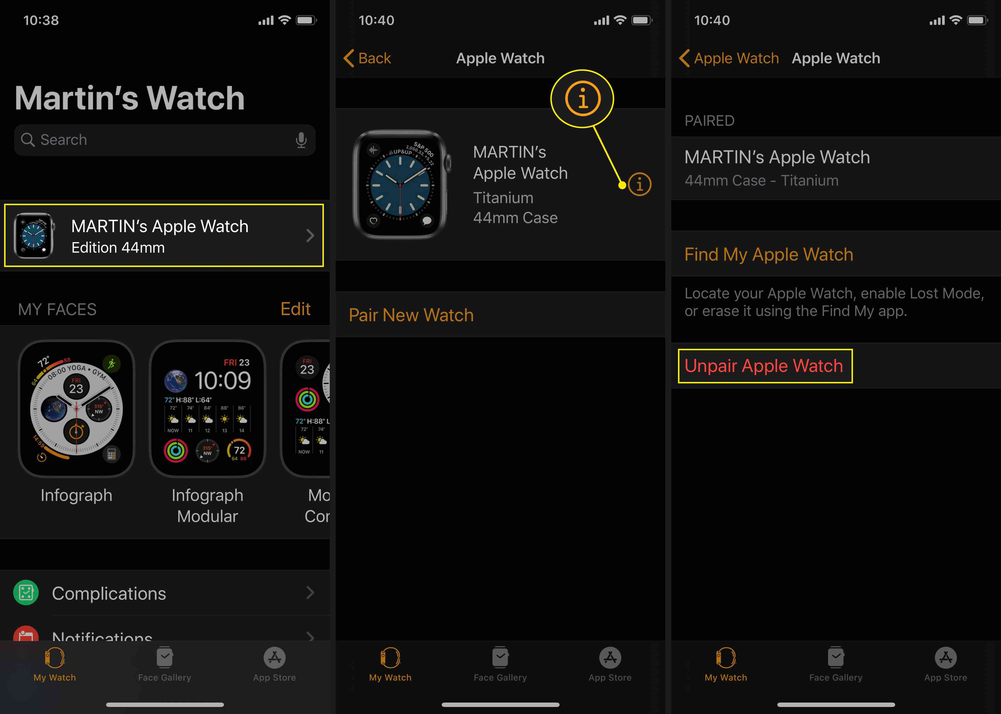 Unpair your Apple Watch to disable Activation Lock