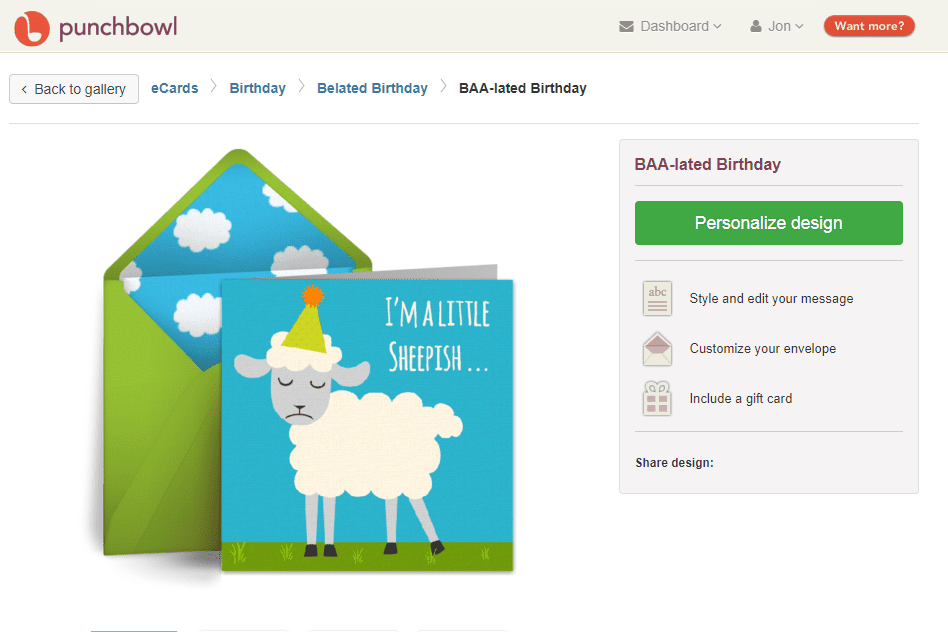 Punchbowl Baa Lated Birthday Ecard