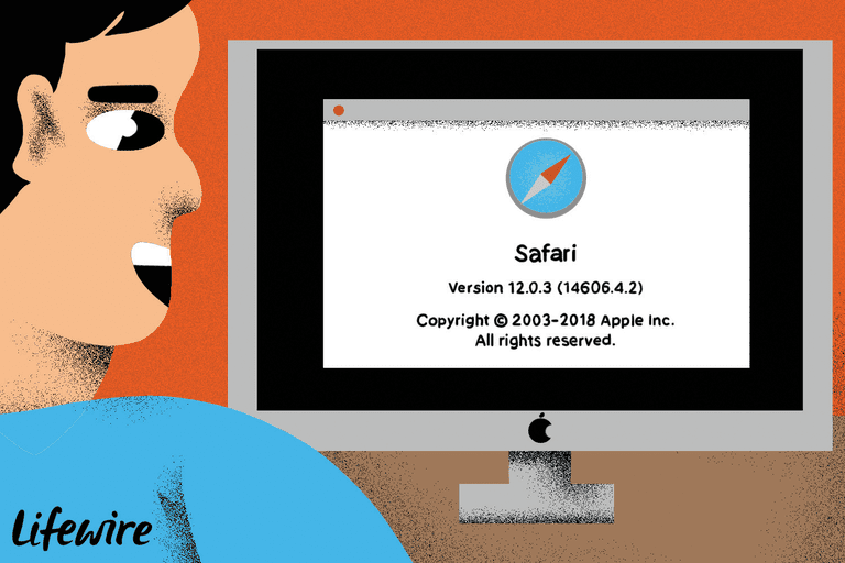 Illustration of a person using an iMac with the Safari version number onscreen