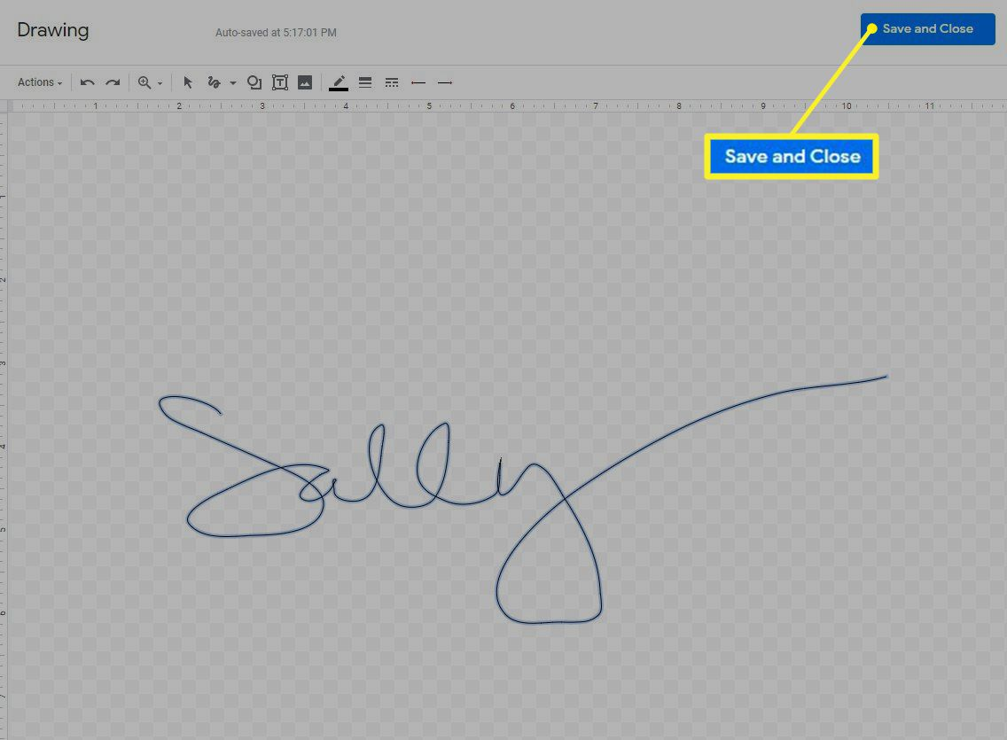 The Drawing menu showing the Line option and a signature