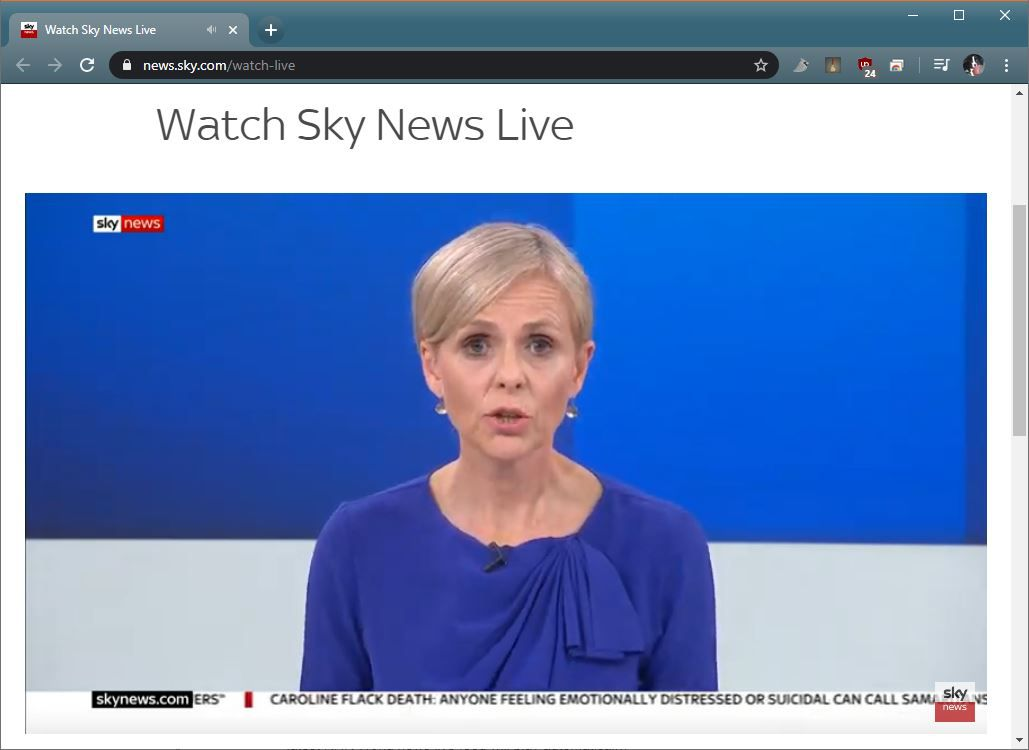 A screenshot of Sky News Live.