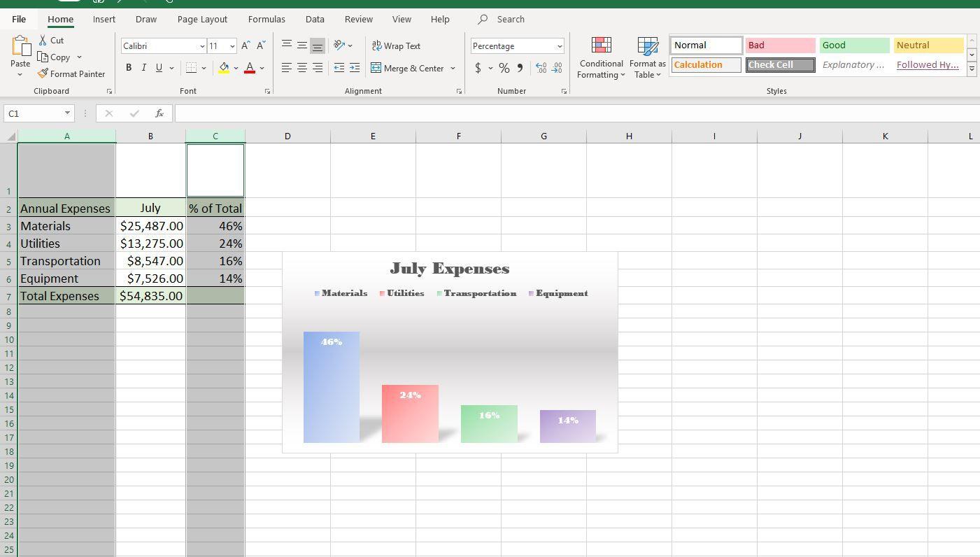 Screenshot of selected columns in Excel