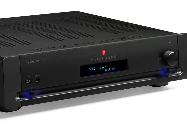 Front angle of the Parasound Halo P7 preamplifier in black