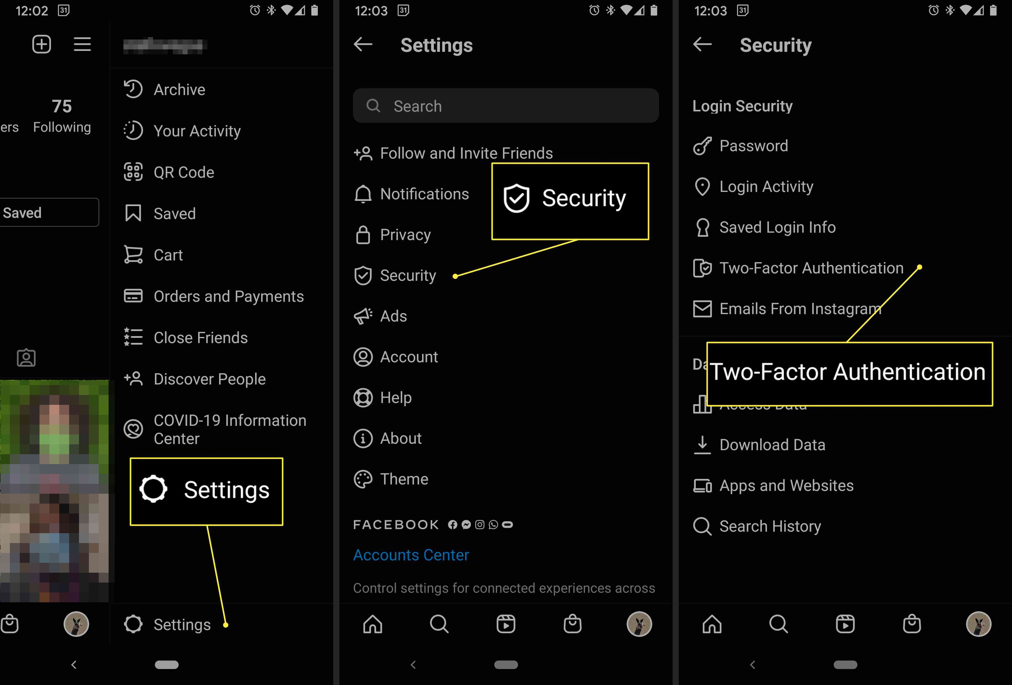 Instagram settings with the steps needed to enable two-factor authentication highlighted