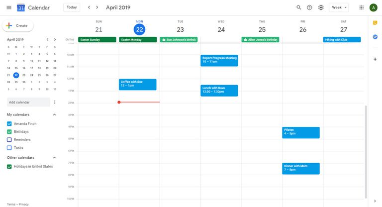 Google Calendar showing week view and birthdays displayed