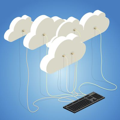Clouds wired into a computer keyboard