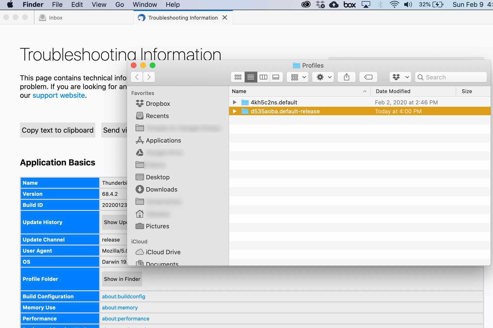 Thunderbird profile folder in macOS Finder