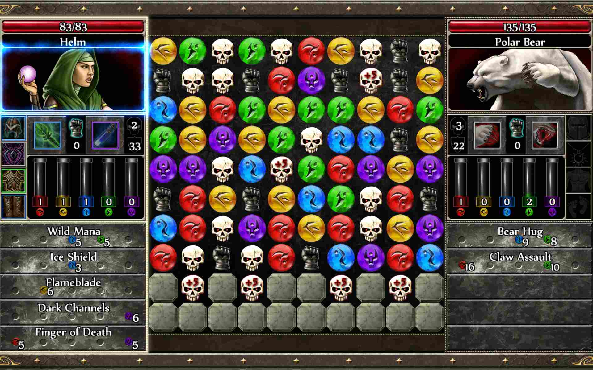 Screenshot of Puzzle Quest gameplay