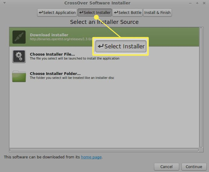 Selecting an installer in the CrossOver menu with Select Installer highlighted