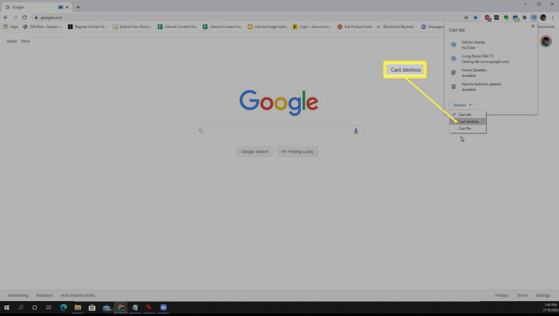 Screenshot of casting desktop with Chrome.