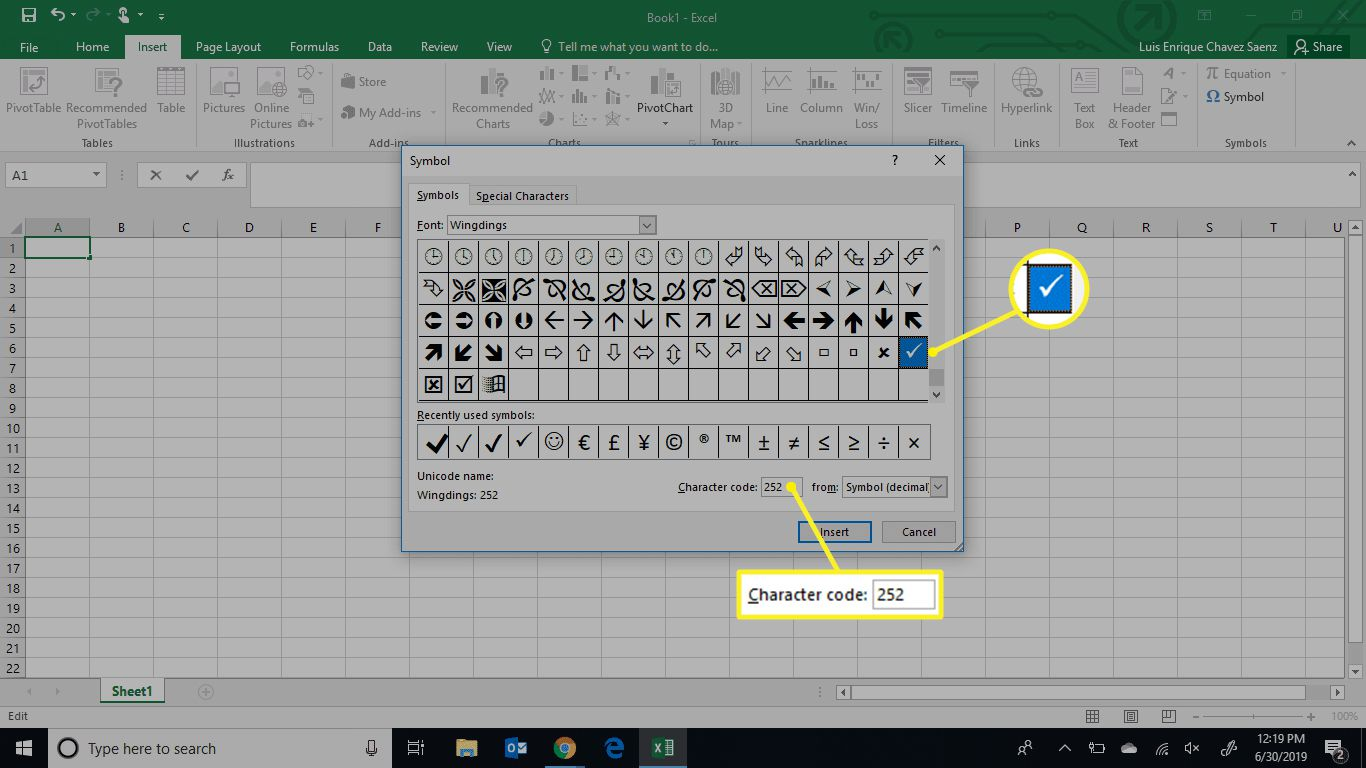 Wingdings check mark character code in Excel
