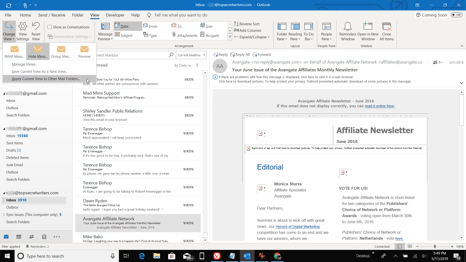Screenshot of Apply Current View in Outlook
