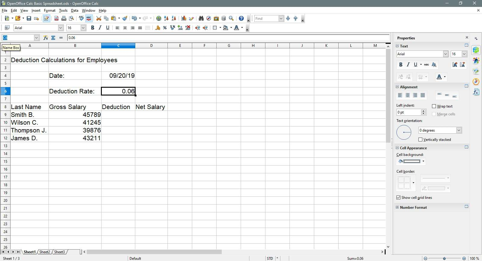 Selecting the Name Box in OpenOffice Calc.