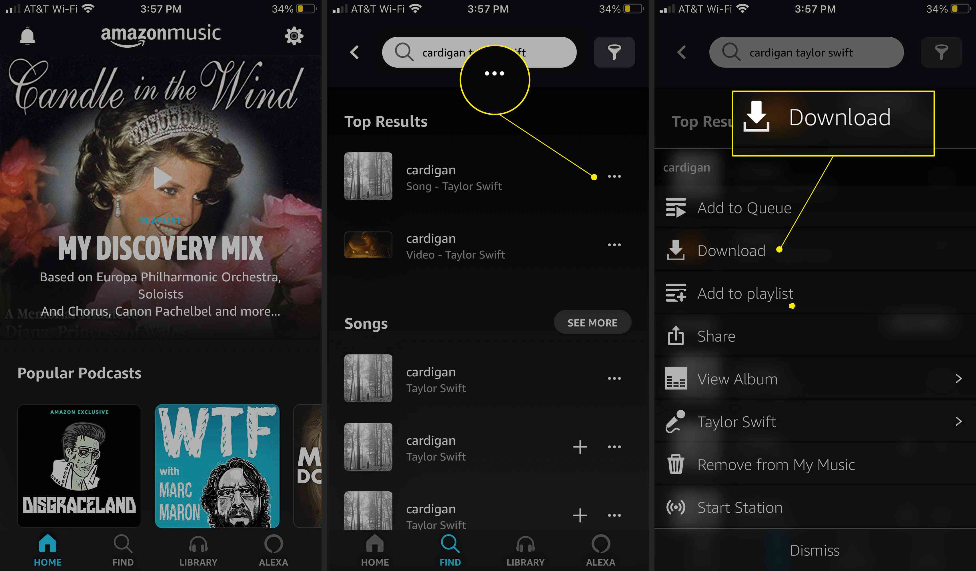 Amazon Music app with More Options (three dots) and Download highlighted