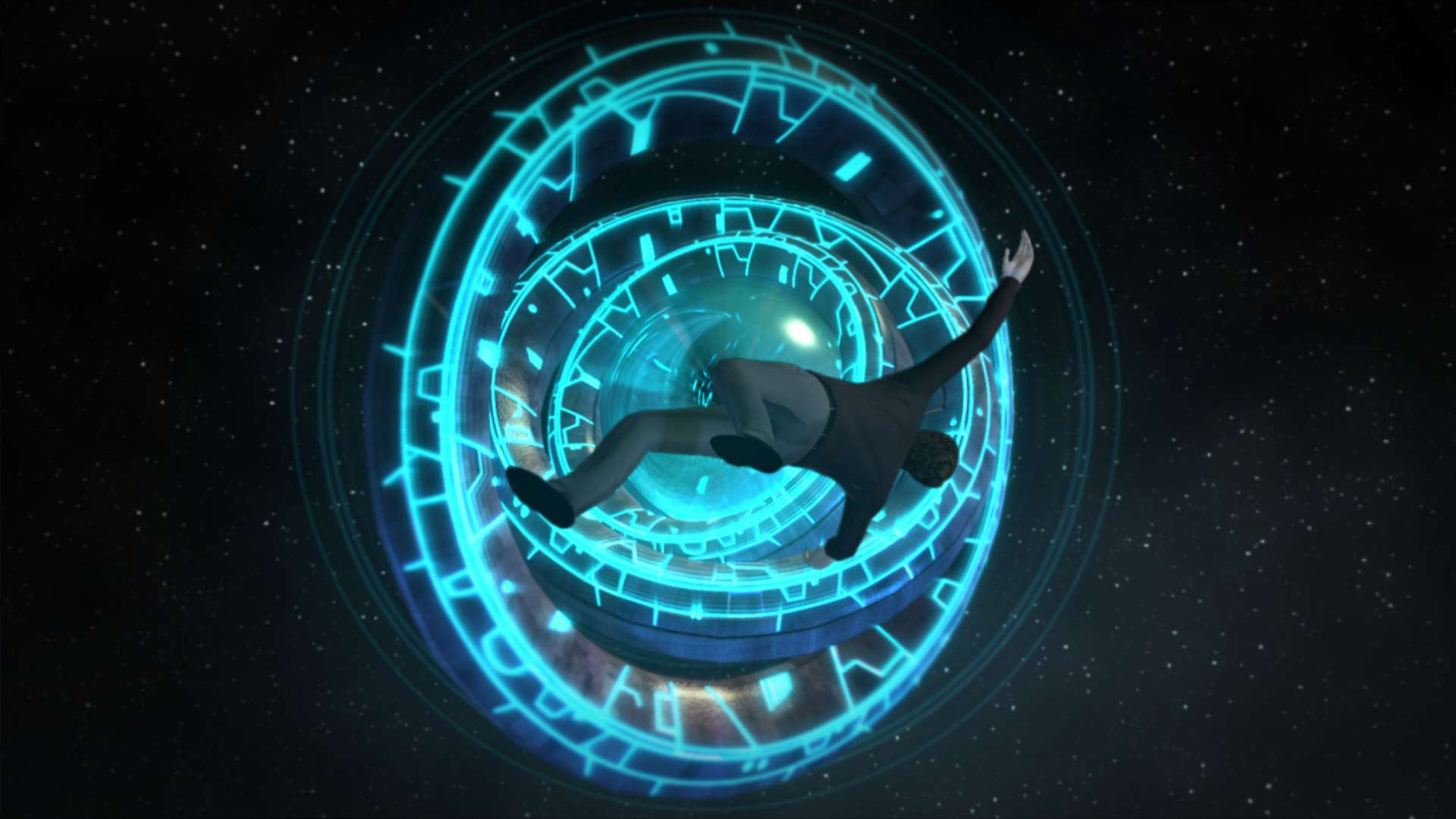 Moebius floats in space in Jane Jensen's Moebius: Empire Rising