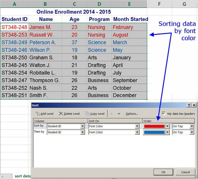 Excel 2013 Sort Font Color
