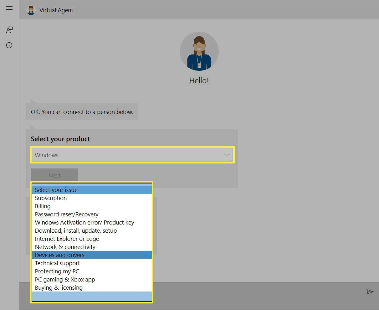 Windows Help Virtual Agent Screen.