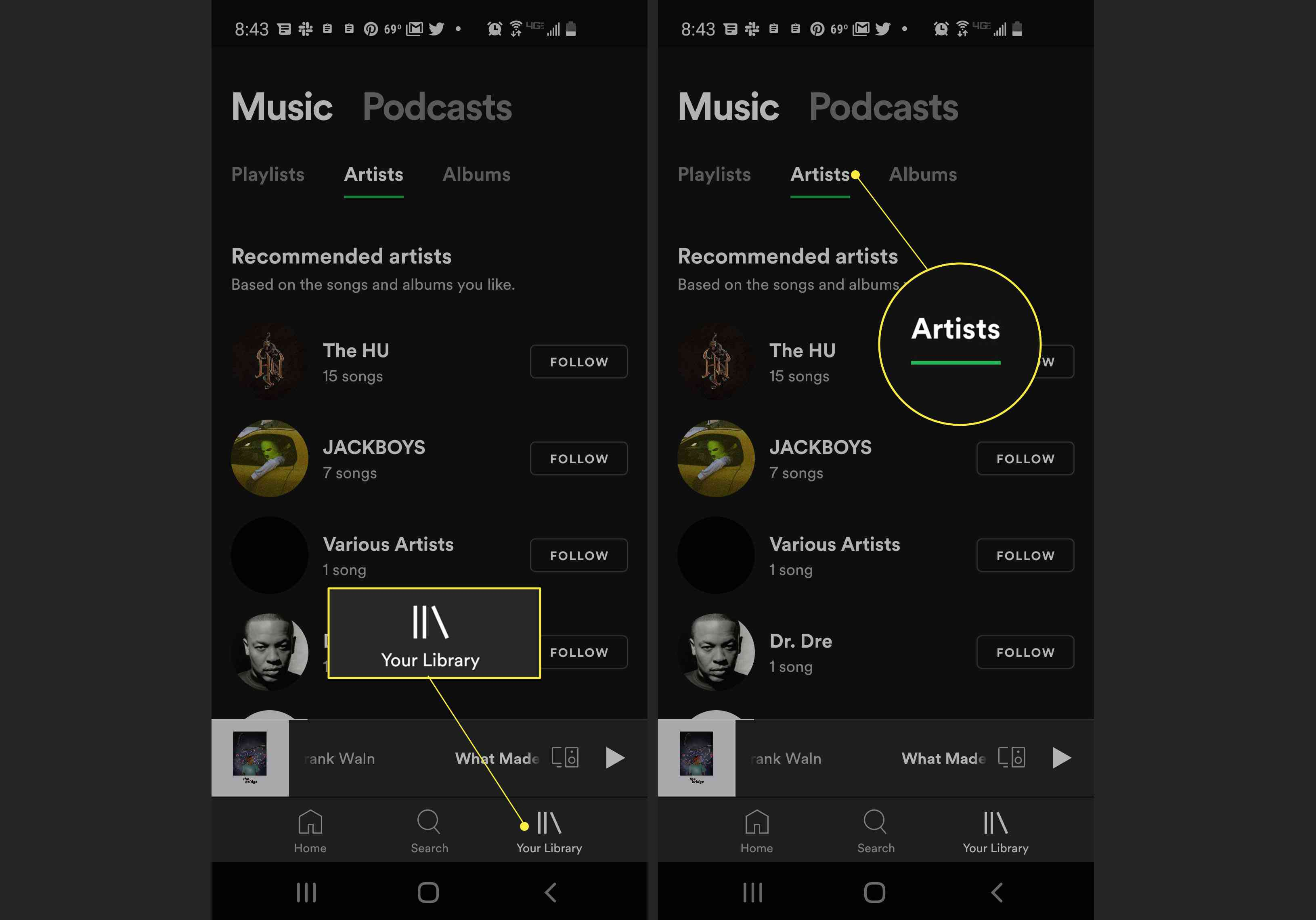 Spotify app with Your Library and Artists highlighted