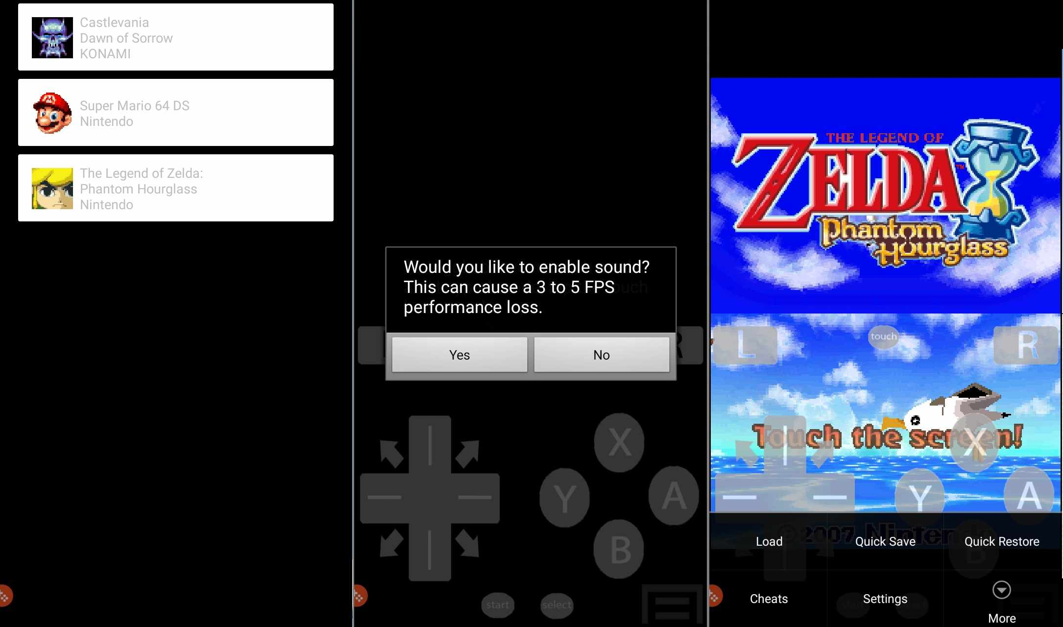 Zelda: Phantom Hour Glass running on the EmuBox DS emulator for Android