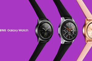 Three Galaxy Watches one black, one black/silver, and one in rose gold, all on a purple background