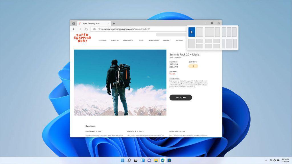 Windows 11 windows layout options