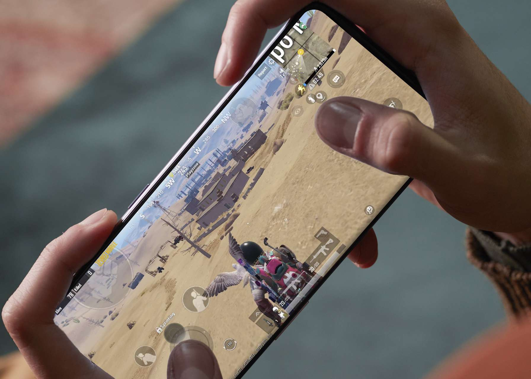 A closeup of the OnePlus 9 screen.