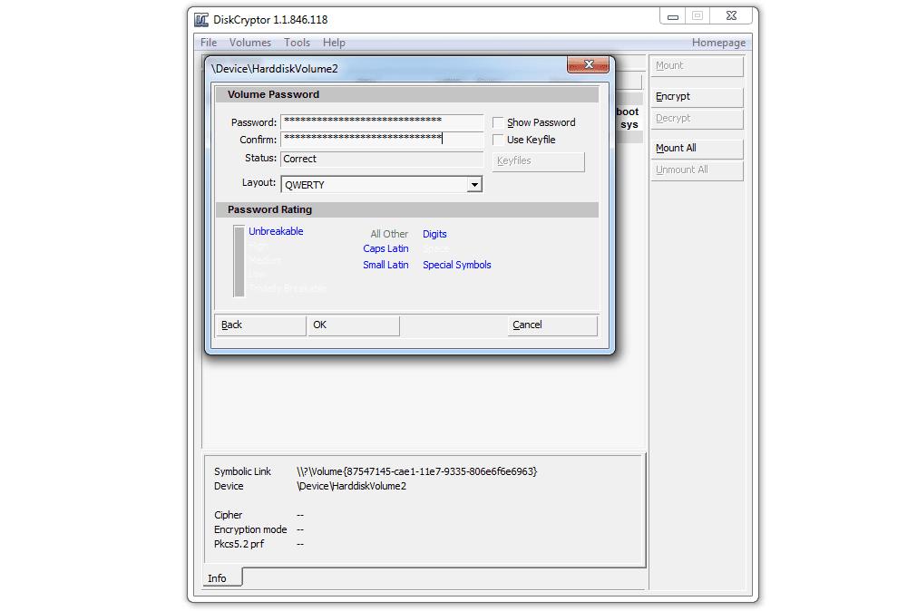 Diskcryptor volume password screen
